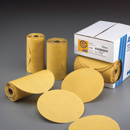100 Pack 100 Grit 5 Inch Discs On a Roll PSA Gold Sticky Back DA Sanding Paper